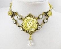 Ivory Rose Necklace Bronze Gold Elegant Lolita Pendant Charm