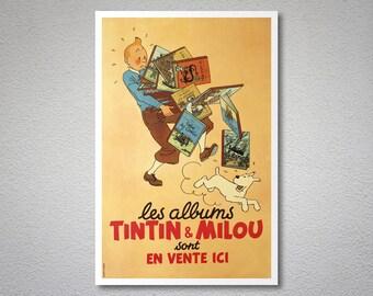 Les Albums Tintin and Milou Sont en Vente Icı  Vintage Poster -  Art Print - Poster Paper, Sticker or Canvas Print
