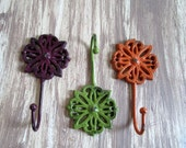 Colorful Cast Iron Wall Hooks - Grape, Lime, Orange [Stag]