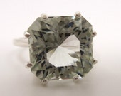 7 Carat Light Prasiolite (Green Amethyst) Gemstone Ring Size 7 1/4 Sterling Silver Hand Cut Gem