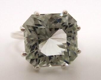 7 Carat Light Prasiolite (Green Amethyst) Gemstone Ring Size 7 1/4 Sterling Silver Hand Cut Gem