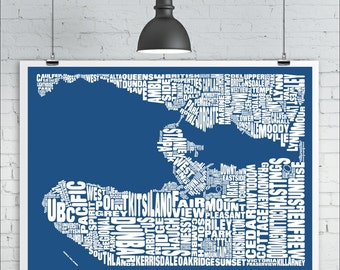 Vancouver Neighbourhoods Map Print - Custom Vancouver Typography Map with Landmarks, Various Colors, Word Map Art Print Poster