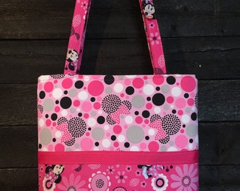 Handmade Quilted Minnie Mouse Tote Handbag