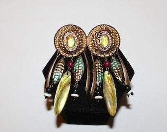 25% OFF JEWELRY 1980s Beaded Gypsy Mother of Pearl Dangle Earrings