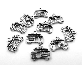 Set of Ten (10) Silver Tone Pewter Streetcar Charms - 0058