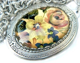 Flower Locket Necklace Photo Keepsake Victorian Long Chain Style Large Statement Jewelry For Women Flower Glass Pendant Necklace Gift Idea