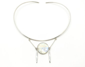 HALO - Moonstone choker, moonstone, brass choker, wedding necklace, wedding choker, bridal choker,  choker, rainbow moonstone necklace, gem