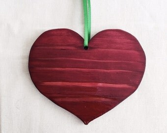 Handmade Holiday Red Wood Heart Ornament