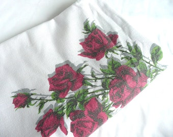 Vintage French tablecloth - rose print tablecloth - French floral tablecloth - mid century barkcloth tablecloth - floral print tablecloth