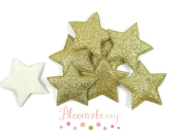 """2"""" Glitter Star Appliques/Padded - Gold Color- Gold Glitter Star Appliques - Gold Star Padded - Hair Accessories Supplies"""
