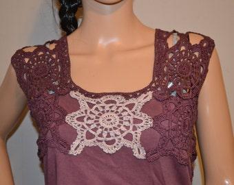 Warm Chocolate  Crochet Hand Made Shirt.