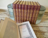 Antique Book Set-Alfred Lord Tennyson 1902 Red Leather with Gold Embossed Covers