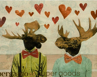 Love Moose Card | Gay Love Greeting Card | LGBTQ Anniversary Card | Blank Love Card | Dapper Animals Wearing Bowties | Cards For Men