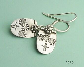 Silver Flower Earrings, Sterling Silver Earrings, Flower Imprint Earrings, Silver Flower, Dangle Earrings, Lightweight Earrings