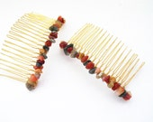 Hair Accessories, Hair Combs,  Two (2) Gold Hair Combs, Multi-Color Gemstones, Wire Wrapped Hair Accessories, Gifts for Her