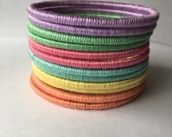 Colorful Thread bangles set - pastel colors bangles
