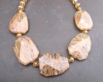 Chunky Quartz Statement Necklace, Gold Quartz Slabs, Slab Necklace, Tourmalinated Quartz, Faceted Stone, Antique Gold 1019