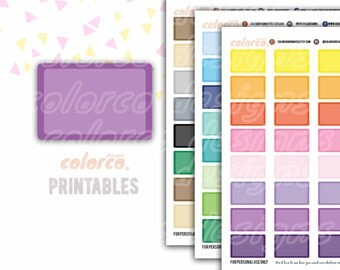 HALF BOX rounded labels Printable Planner Stickers Erin Condren Happy Planner Inkwell Plum Paper Instant Digital Download