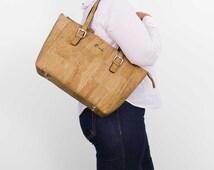 Vegan Satchel - Natural Ethics Sustainable - Cork Handbag - Woman Handbag - Unique Gift - Woman Gift Christhmas - Light Brown Cork (CK149)