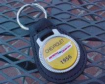 1956 Classic Chevy Chevrolet Car Collector Grain Leather Key Fob Retro-Cool Scarce Item Nice Wide Crest