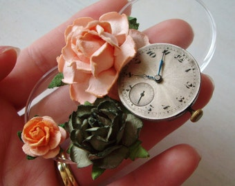 Peach, Orange and Green Rose Rustic Vintage Wedding Watch Part Hair Clip