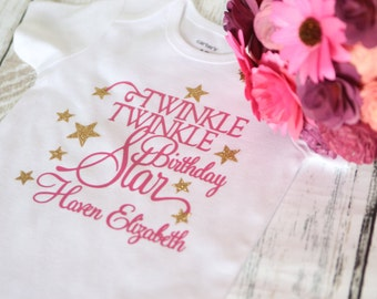 Twinkle Twinkle Little Star Birthday bodysuit or Tshirt Pink and Gold perfect for first birthday parties