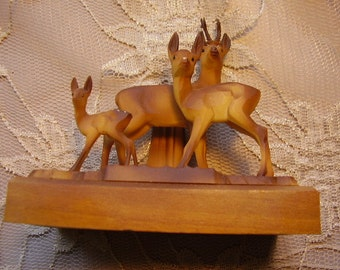 Vintage Resin Deer Sculpture Figurine