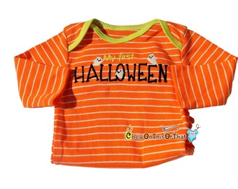 My First Halloween Orange and White Stripe Long Sleeve Embroidered Ghost Onesie, Bodysuit, Shirt, Top