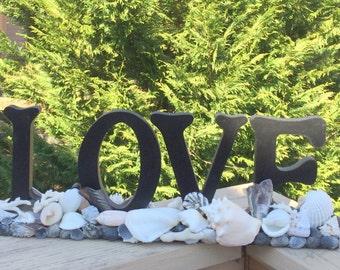 Black and White Seashell Decor, Free-Standing Love Sign, Beach Wedding, Beach Decor, Nautical Decor