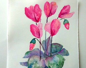 Small watercolor painting, watercolor flowers, floral watercolor, floral painting, cyclamen, aquarelle, small painting, original watercolor