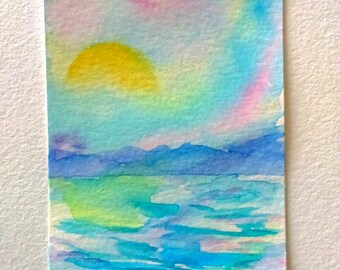 Original aceo, watercolor aceo, aceo painting, aceo landscape, artist trading card, watercolor miniature, miniature painting, atc original