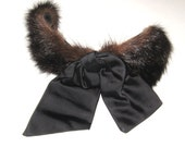 VINTAGE 1940s Dark Brown MINK Fur Black Satin Bow Demi FASCINATOR Cocktail Headband Hat Rockabilly Big Band.Pin Up Burlesque