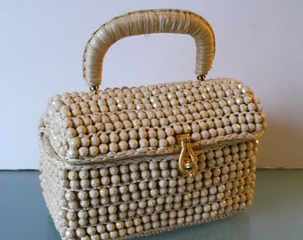 Made in Italy Beige Raffia Bag with Faceted Beads
