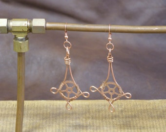 Copper Pendant Wire-Wrapped Gearrings