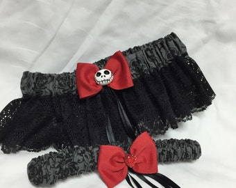 Red Nightmare Damask Keepsake and toss wedding garter