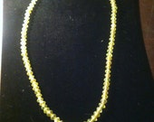 19th Century Vintage Antique Vaseline Glass Bead Neacklace Green 40 inch