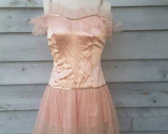 Vintage Handmade Pink Ballerina Tutu Costume Circus Performer Acrobat Burlesque Dancer XS S