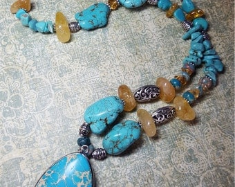 Turquoise, Citrine, Howlite and Silver Beaded Necklace