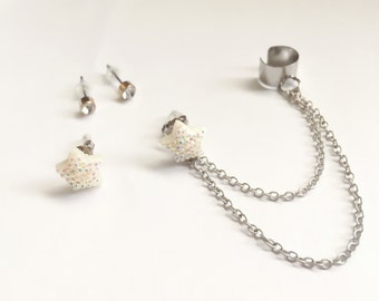 Iridescent Star Chain Cuff Earring with Clear Crystal Studs, Interchangeable Ear Cuff -- 3 Colors to Choose From