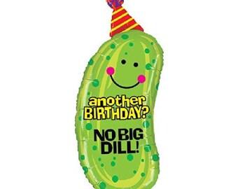 FREE SHIPPING No Big Dill pickle jumbo mylar balloon junk food happy birthday party decorations