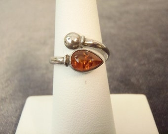 Sterling Silver Bypass Amber Ring Sz.7 1/2 R87
