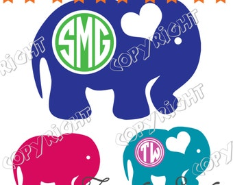 cute elephant frame monogram, cut file, vinyl ready design, SVG file, silhouette file, cricut file, ready to cut
