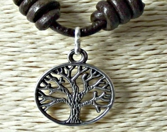 Tree of life necklace, tree of life pendant, zamak necklace, fashion necklace, leather necklace, leather necklaces, the necklace