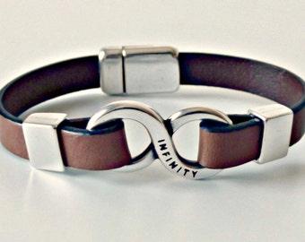 Infinity bracelet, husband gift, gifts for men, gifts for her, bracelets for women, bracelets for men, leather bracelet, men bracelets