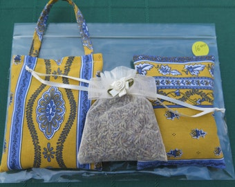 French fabric from Provence ,set of 3 Lavender sachets  , little flowers in yellow.