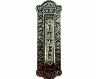 Antique Victorian Door Knocker and Mail Slot Letterbox by Kenrick & Sons No. 443