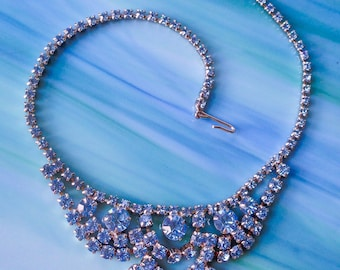 Blue Rhinestone Necklace Vintage