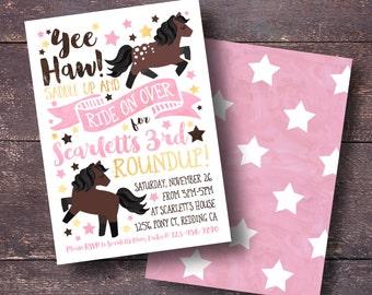 Pony Invitation, Pony Birthday Invitation, Pony Party Invitation, Cowgirl Invitation, Horse Party Invitation, Cute Horse Invitation
