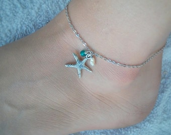 Starfish adjustable anklet