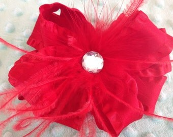 Red Ruffle Christmas Holiday Hairbow with Jewel and Feathers